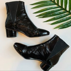Rebecca Minkoff black patent leather booties